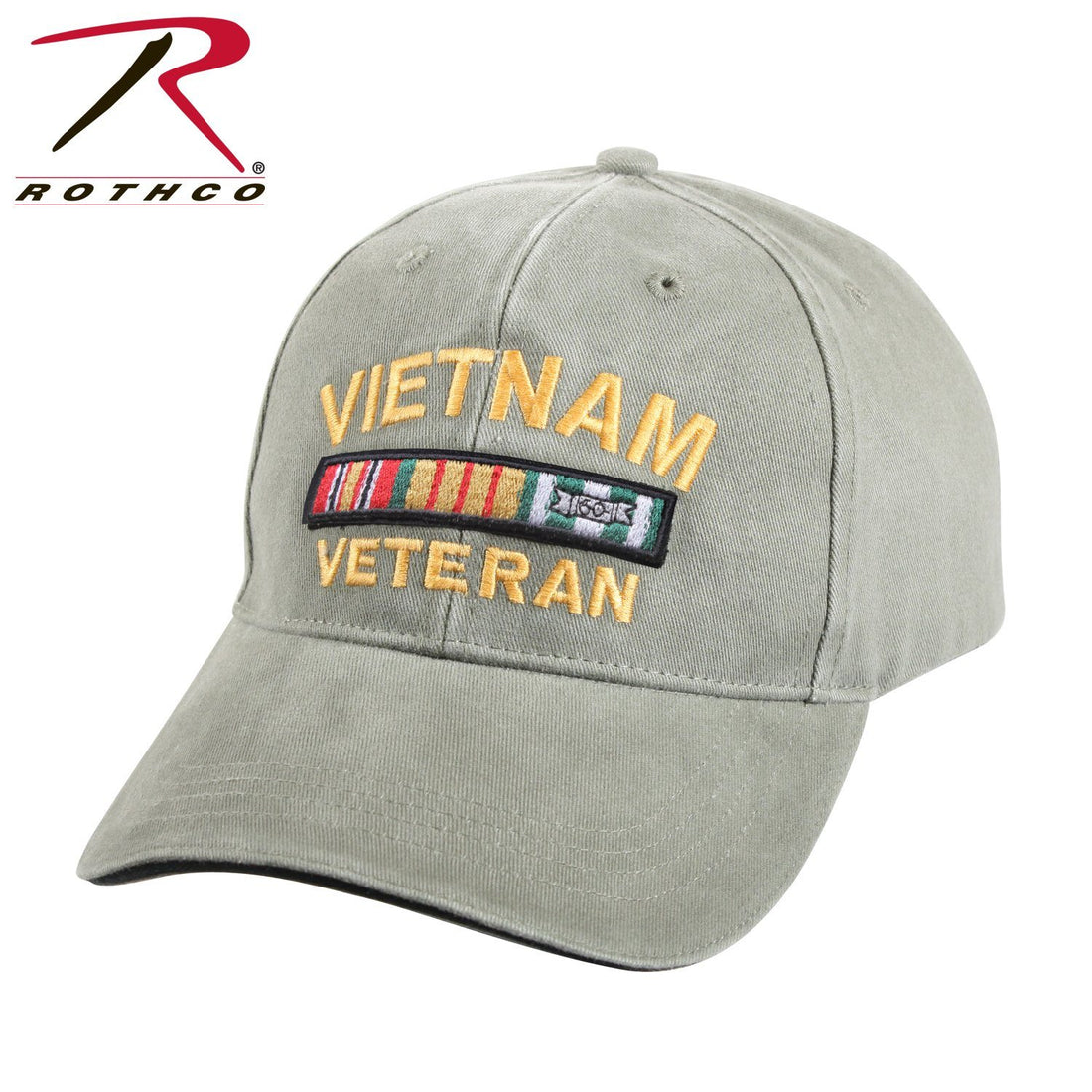 "Front view of the military green USMC hat at Marine Corps Direct that says ""VIETNAM VETERAN"" on the front."