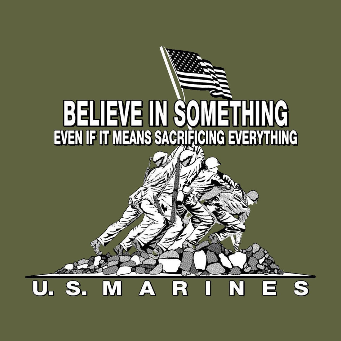 Champion Believe In Something OD GREEN Power Blend Sweat Shirt - Marine Corps Direct