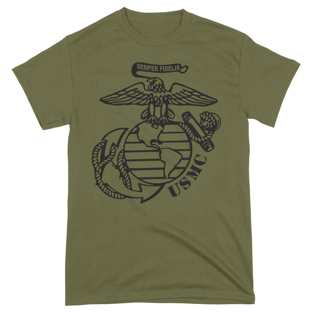 Front view of the military green USMC T-shirt with the eagle, globe, and anchor logo front and center.