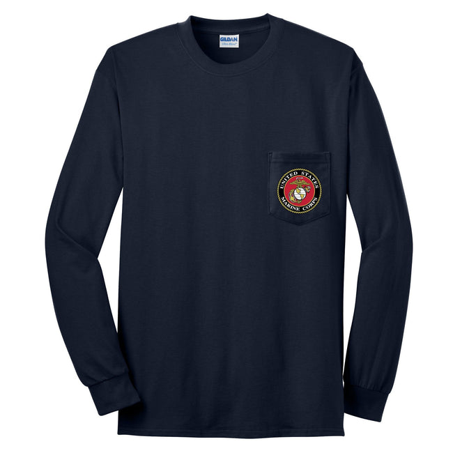 "Navy blue USMC long sleeve with an eagle, globe, and anchor patch on the shirt pocket. The EGA logo is gold and white against  a red background with the words, ""United States Marine Corps"" written around it."