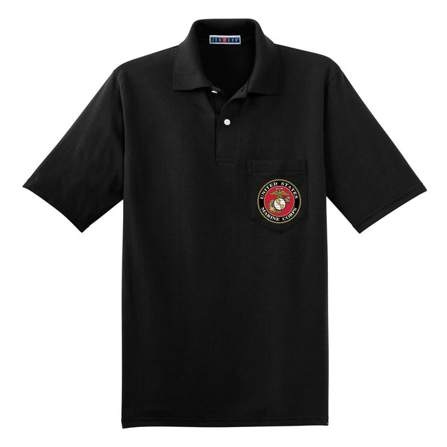 Black USMC polo shirt with the eagle, globe, and anchor on the front shirt pocket.
