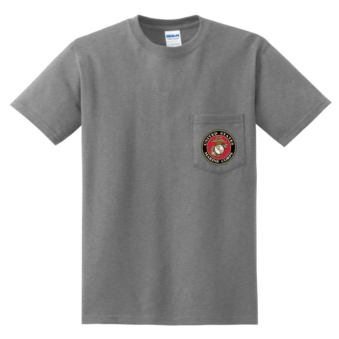 gray USMC shirt in short sleeve that has the eagle, globe, and anchor patched onto the front pocket.