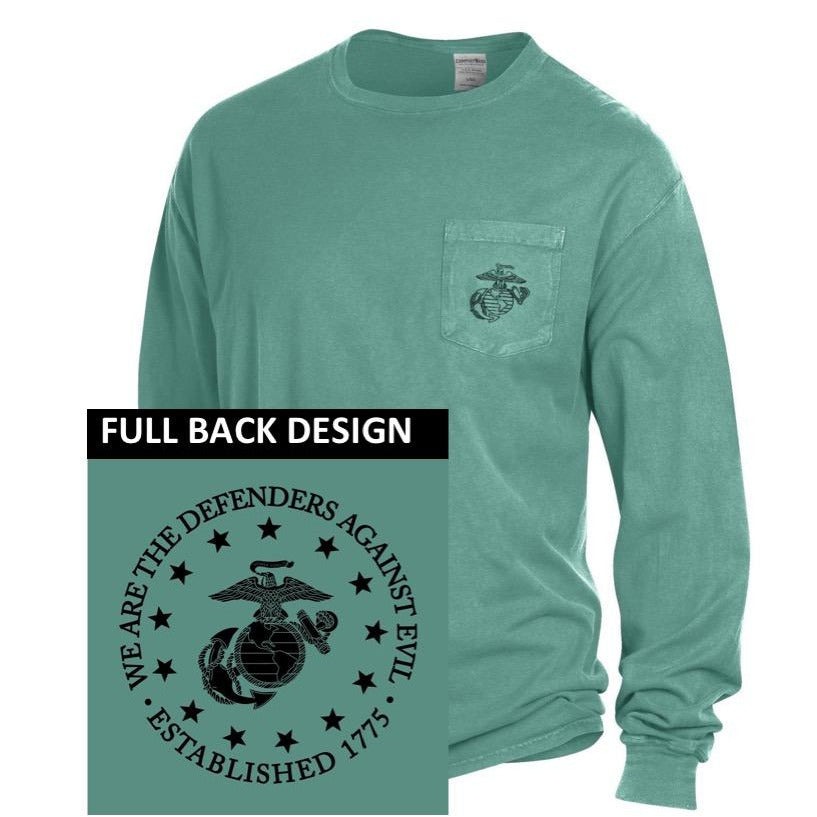 "Comfort Wash ""DEFENDERS OF EVIL"" Cypress Green EGA POCKET Long Sleeved Tee with Full Back - Marine Corps Direct"
