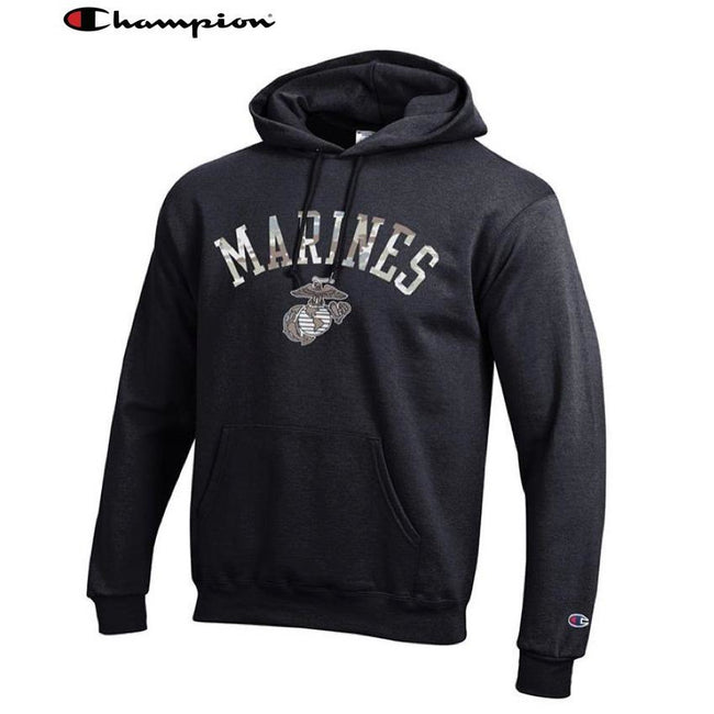 Champion Camo Marines Power Blend Hoodie Black - Marine Corps Direct
