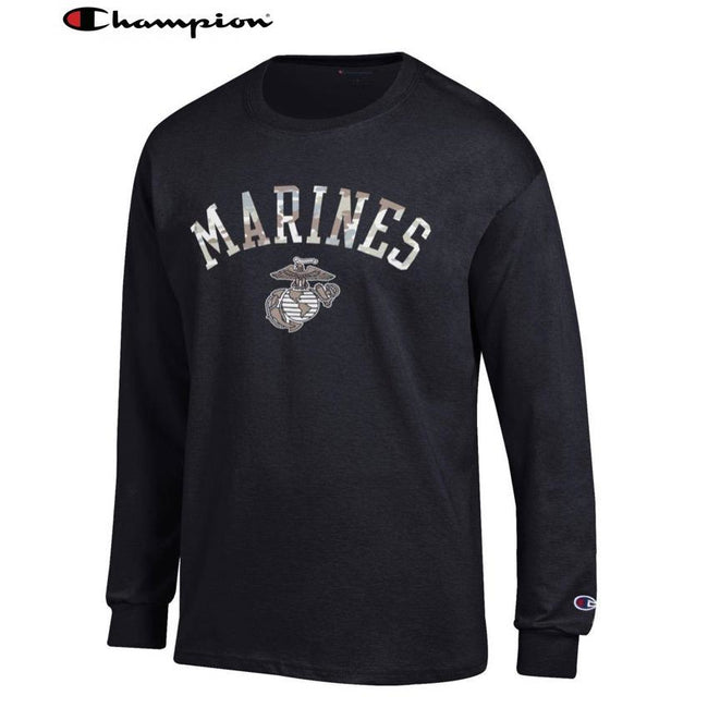 Champion Camo Marines Long Sleeve T-Shirt (Black) - Marine Corps Direct