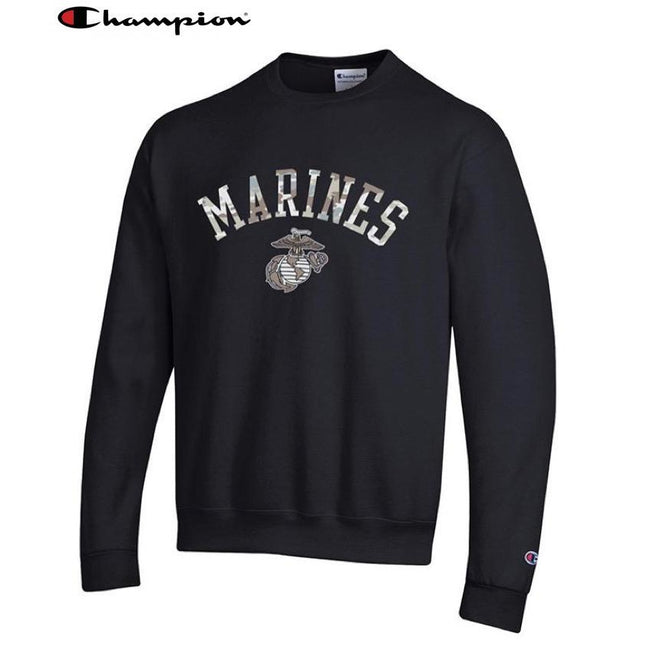 Champion Camo Marines Power Blend Sweat Shirt Black - Marine Corps Direct