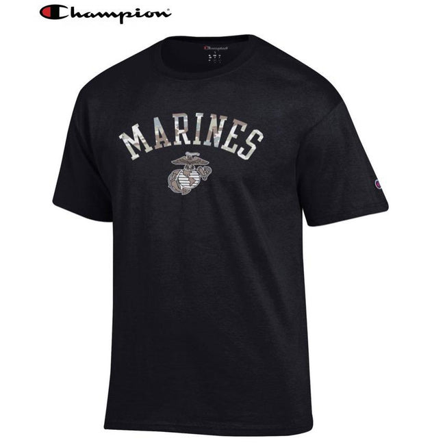 Champion Camo Marines T-Shirt (Black) - Marine Corps Direct