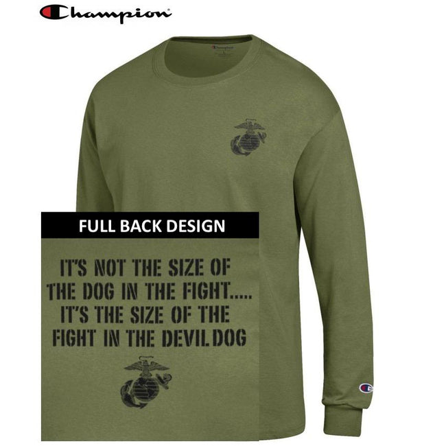 Champion Dog in the Fight OD GREEN 2-Sided Long Sleeve T-Shirt - Marine Corps Direct