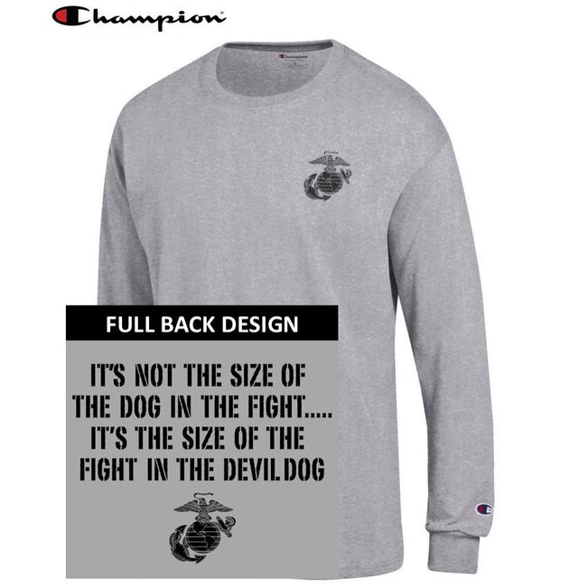Champion Dog in the Fight OXFORD GREY 2-Sided Long Sleeve T-Shirt - Marine Corps Direct