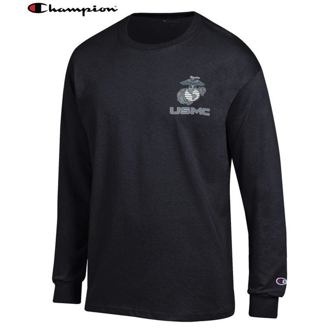 Champion EGA USMC Chest Seal Black Long Sleeve T-Shirt - Marine Corps Direct