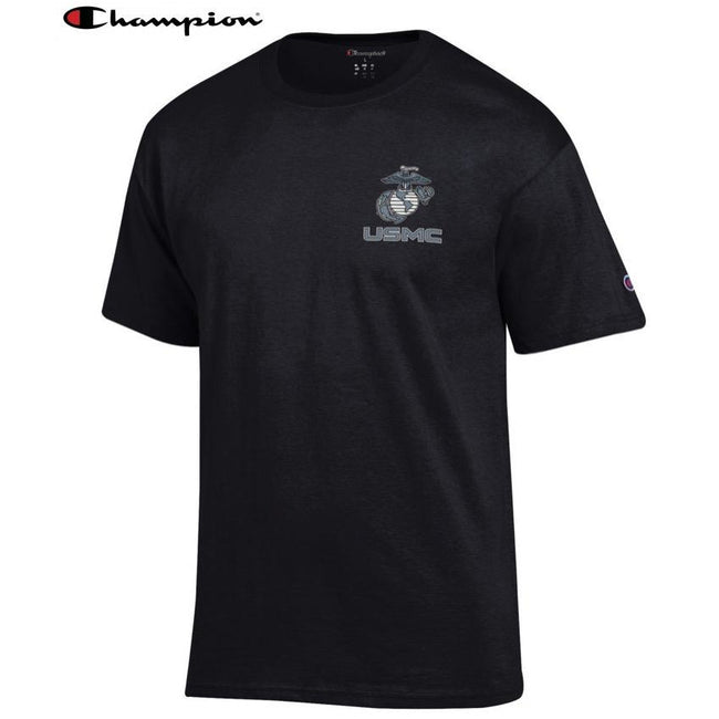 Champion EGA USMC Chest Seal Black T-Shirt - Marine Corps Direct