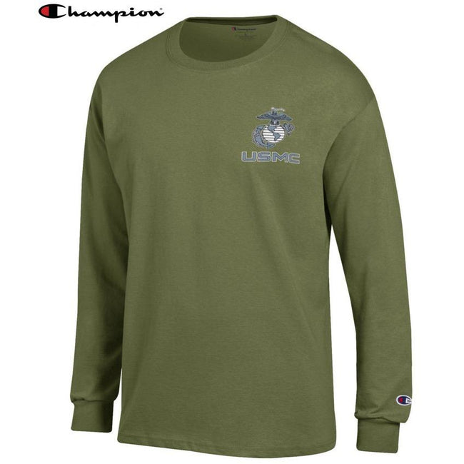 Champion EGA USMC Chest Seal OD GREEN Long Sleeve T-Shirt - Marine Corps Direct