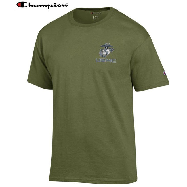 Champion EGA USMC Chest Seal OD GREEN T-Shirt - Marine Corps Direct