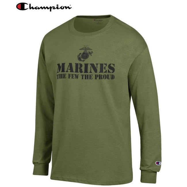 Champion Few Proud OD GREEN Long Sleeve T-Shirt - Marine Corps Direct