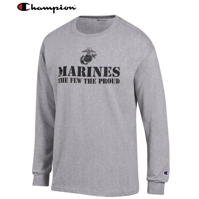 Champion Few Proud OXFORD GREY Long Sleeve T-Shirt - Marine Corps Direct
