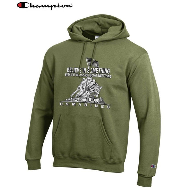 Champion Believe In Something OD GREEN Power Blend Hoodie - Marine Corps Direct