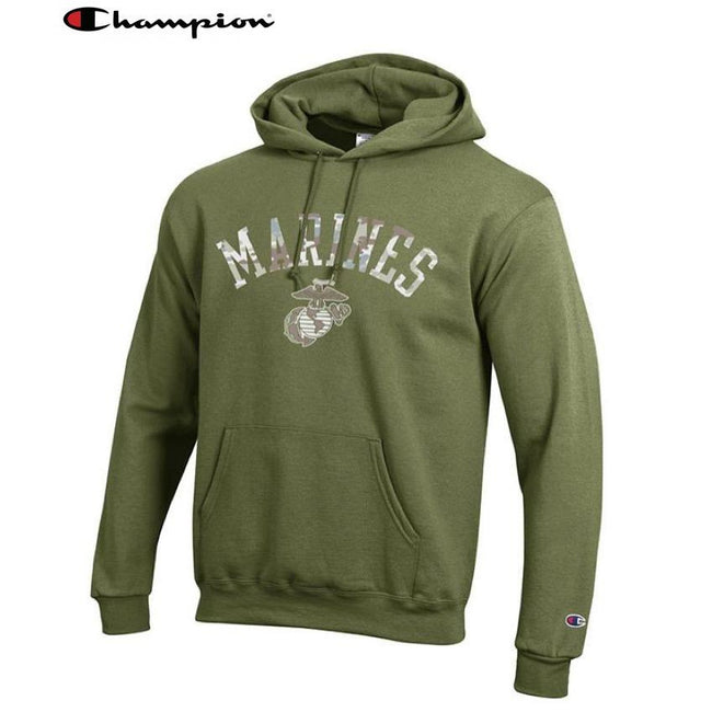Champion Camo Marines Power Blend Hoodie OD Green - Marine Corps Direct