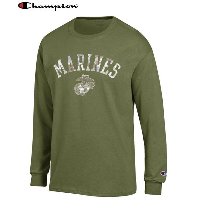 Champion Camo Marines Long Sleeve T-Shirt (OD GREEN) - Marine Corps Direct