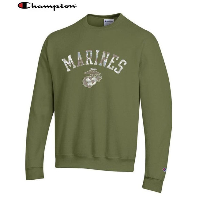 Champion Camo Marines Power Blend Sweat Shirt OD Green - Marine Corps Direct