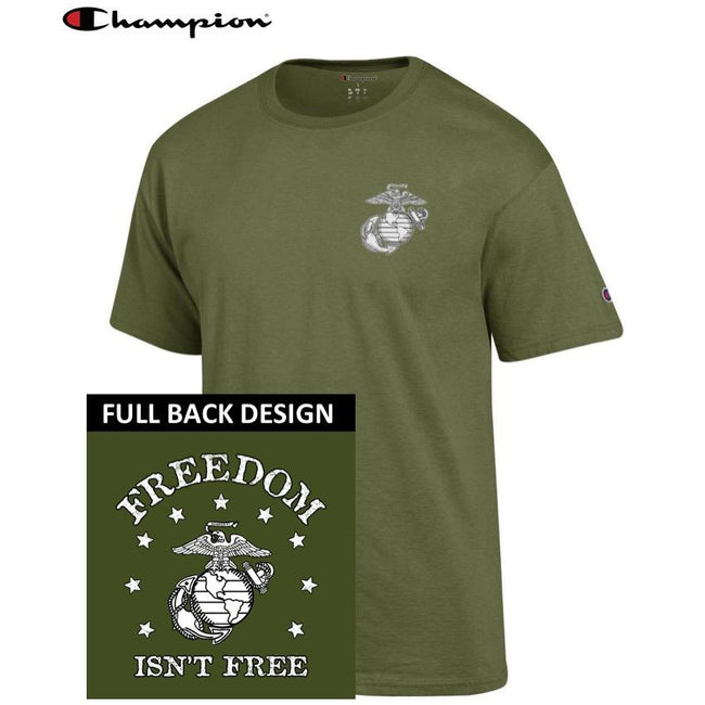 Champion Freedom Isn't Free OD GREEN 2-Sided T-Shirt - Marine Corps Direct