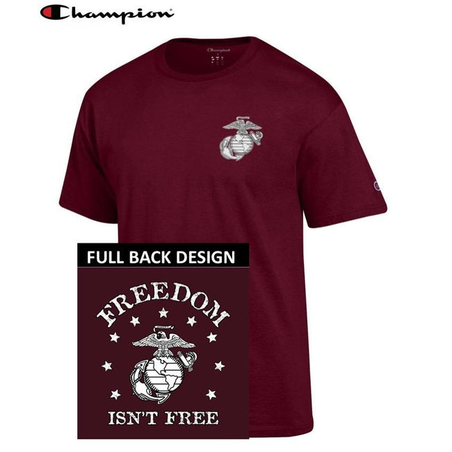 Champion Freedom Isn't Free MAROON 2-Sided T-Shirt - Marine Corps Direct