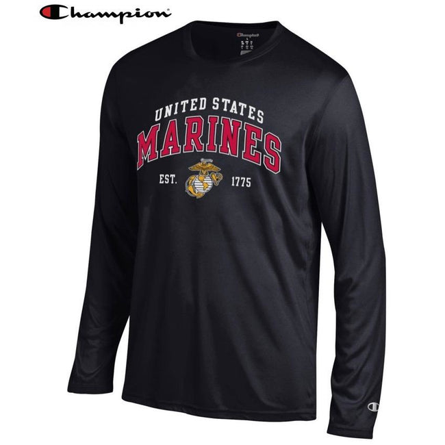 Champion US Marine Corps EST. 1775 Dri-Fit Performance Black Long Sleeve Tee - Marine Corps Direct