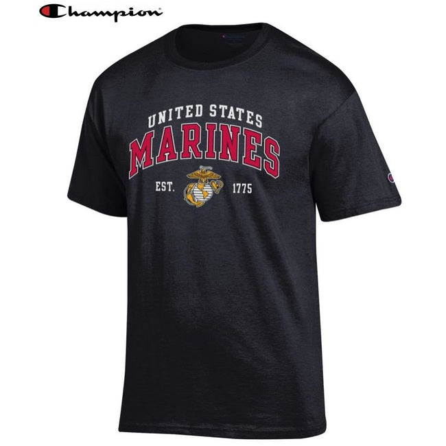 Champion US Marine Corps EST. 1775 Dri-Fit Performance Black Tee - Marine Corps Direct