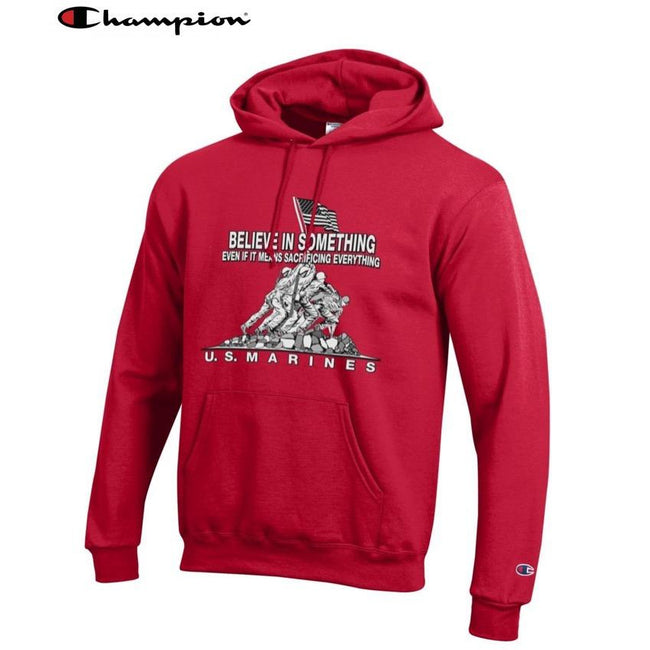 Champion Believe In Something Scarlet Power Blend Hoodie - Marine Corps Direct