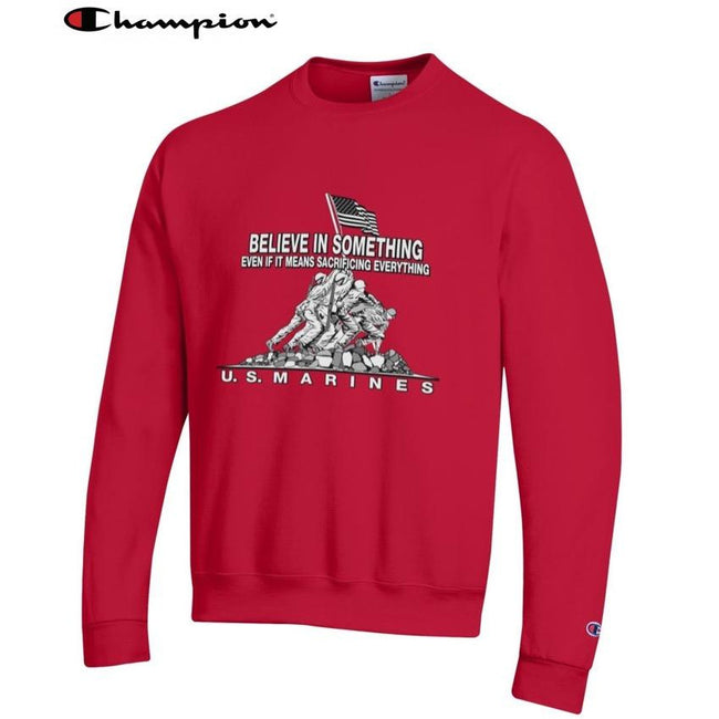 Champion Believe In Something SCARLET Power Blend Sweat Shirt - Marine Corps Direct