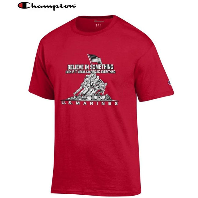 Champion Believe In Something SCARLET Tee - Marine Corps Direct