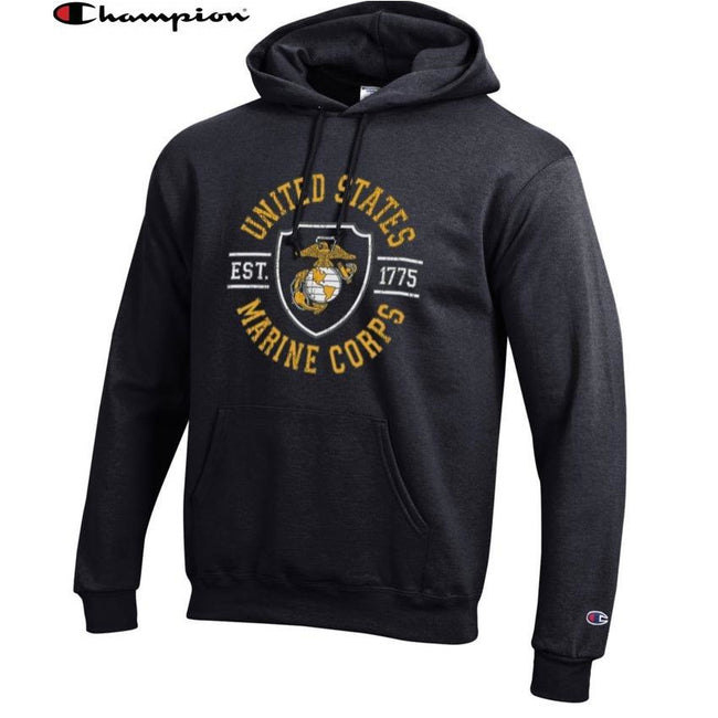 Champion SHIELD BLACK Power Blend Hoodie - Marine Corps Direct