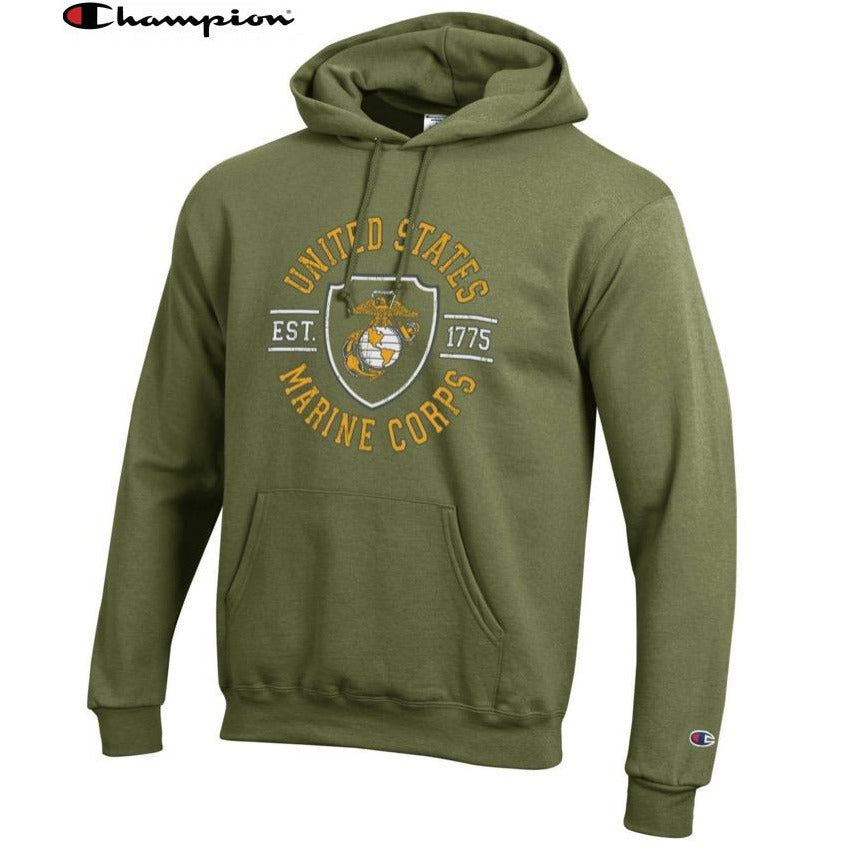 Champion SHIELD OD GREEN Power Blend Hoodie - Marine Corps Direct