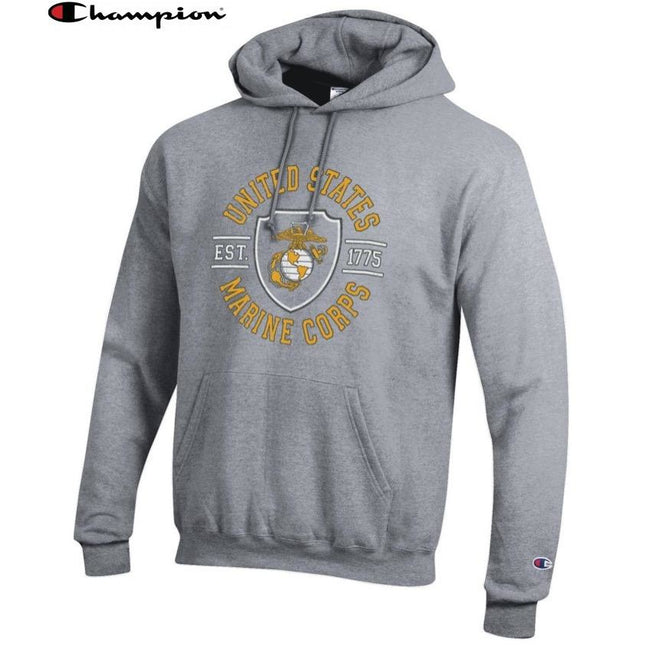 Champion SHIELD OXFORD GREY Power Blend Hoodie - Marine Corps Direct