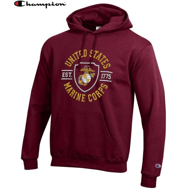 Champion SHIELD MAROON Power Blend Hoodie - Marine Corps Direct