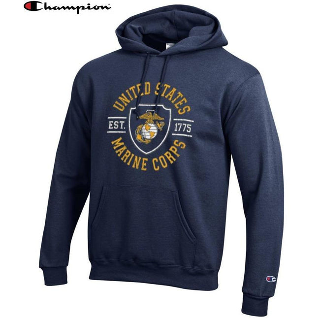 Champion SHIELD NAVY Power Blend Hoodie - Marine Corps Direct