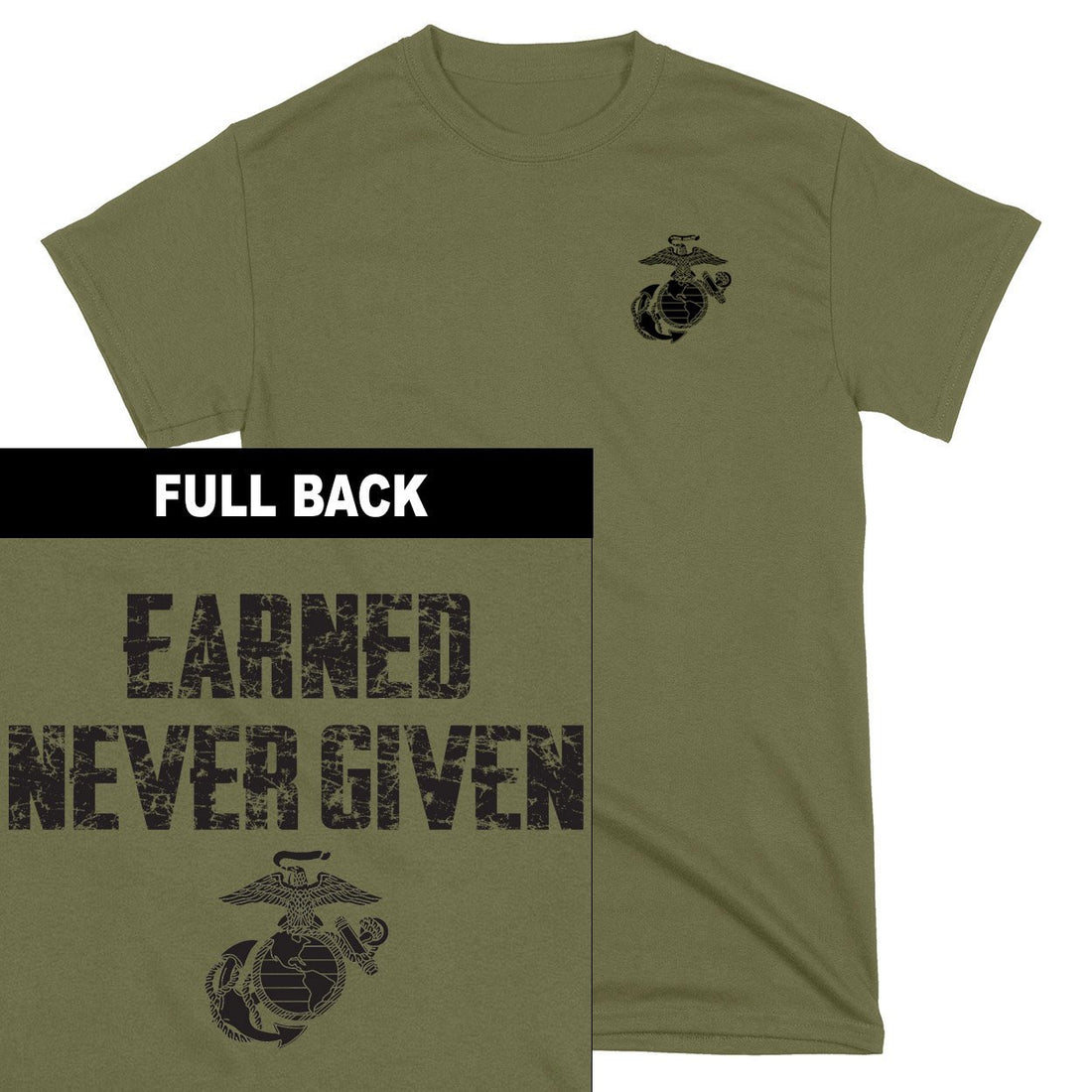 "Front view of the sport grey USMC sweatshirt at Marine Corps Direct that says ""EARNED NEVER GIVEN"" on the front above the eagle, globe, and anchor."