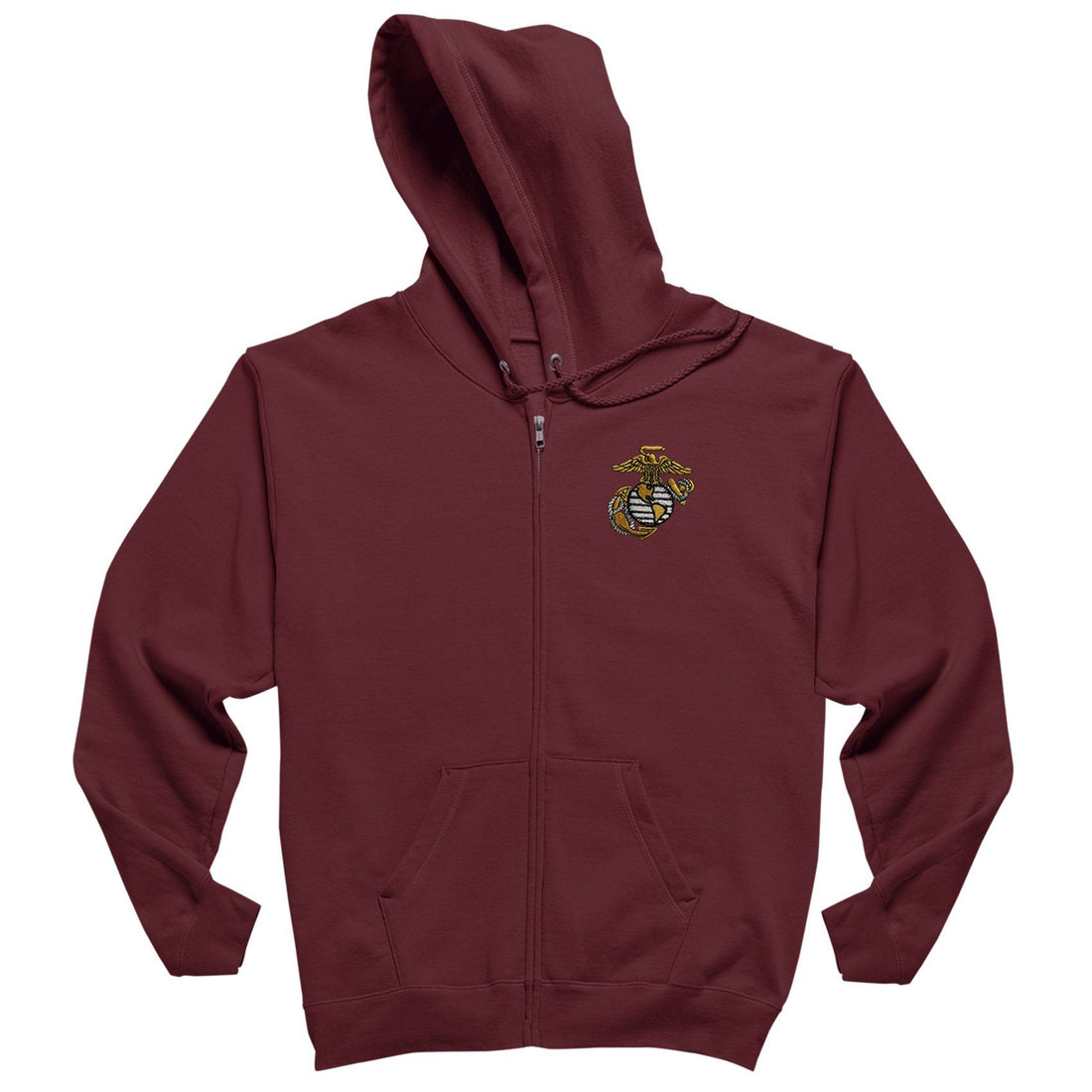 Gold EGA Embroidered Full Zipped Hoodie - Marine Corps Direct