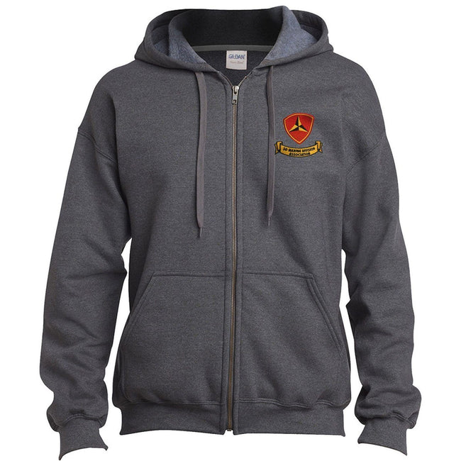 Frontal view of the Tweed Gray 3rd Marine Division Association USMC Sweatshirt with the 3rd Marine Division Association logo on the front.