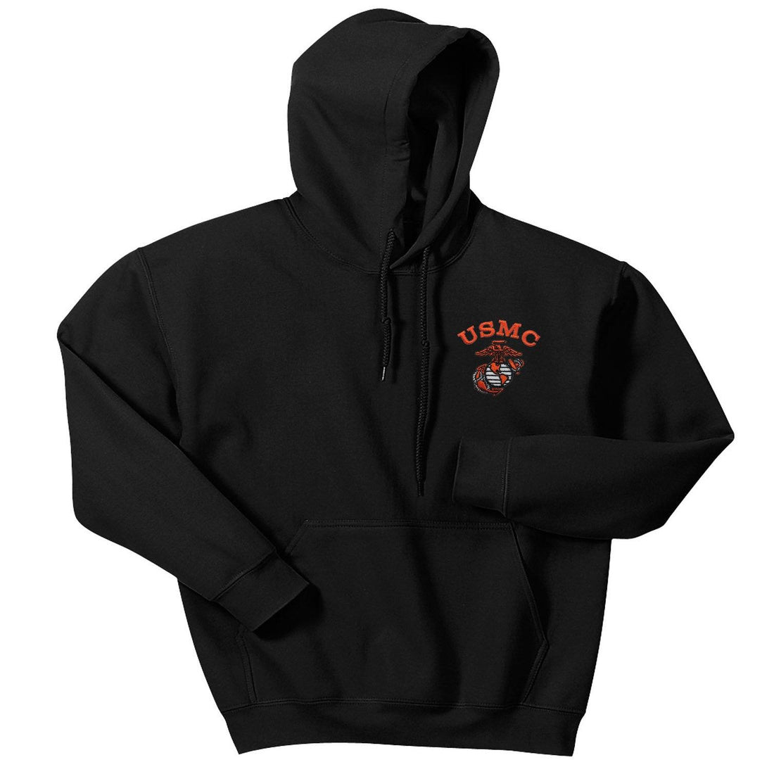Orange USMC Embroidered Black Hooded Sweatshirt