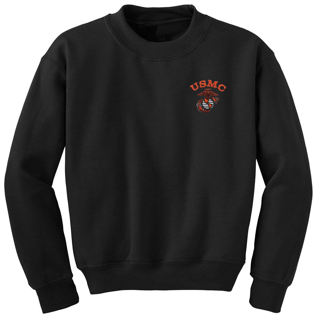 USMC  Safety Orange Embroidered Black Sweatshirt