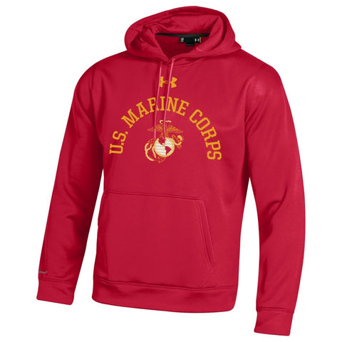 Under Armour U.S. Marine Corps Performance Red Hooded Sweatshirt