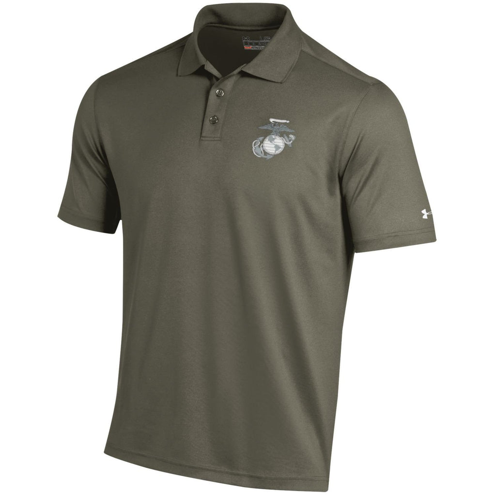 Under Armour Performance Marines Military Green Polo - Marine Corps Direct