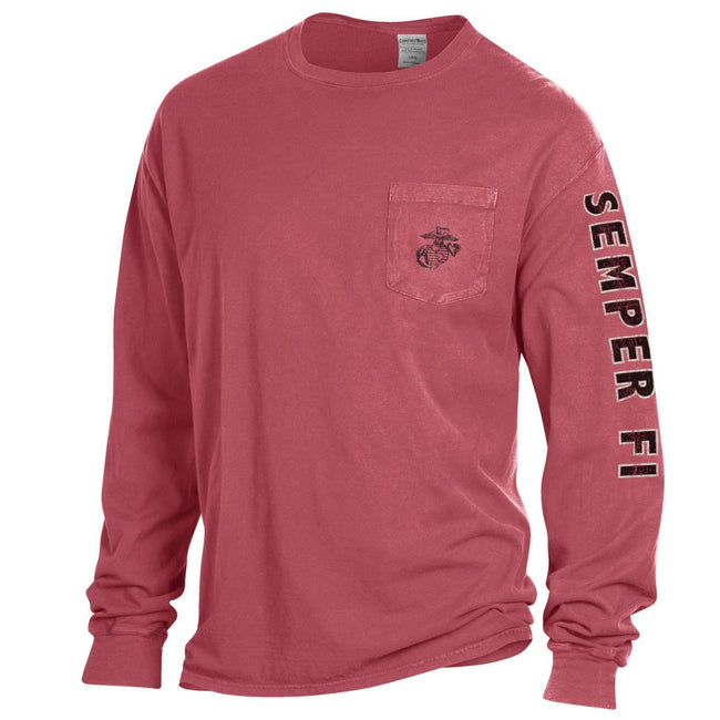 Comfort Wash Crimson Red EGA POCKET Long Sleeved Tee with Semper Fi Sleeve Drop - Marine Corps Direct