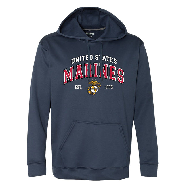 "Front view of the navy blue blue USMC hoodie with the words ""UNITED STATES MARINE CORPS"" and the eagle, globe, and anchor below the words in the center from Marine Corps Direct."