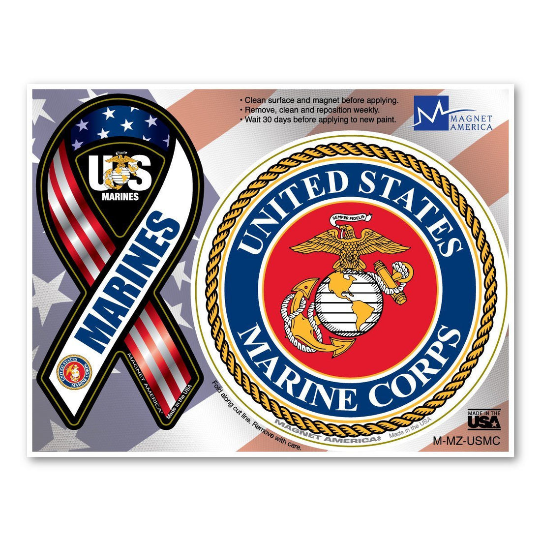 "Marines Combo Magnets -Mini Ribbon 2""x4"" & Circle 3 3/4"""