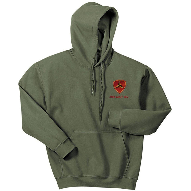 Front-facing view of the 3rd Marine-Division embroidered hoodie in military green from Marine Corps Direct.