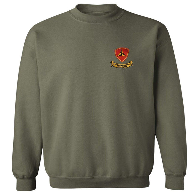 Front view of military green USMC sweatshirt from Marine Corps Direct with the 3rd Marine Division Association logo on the front.
