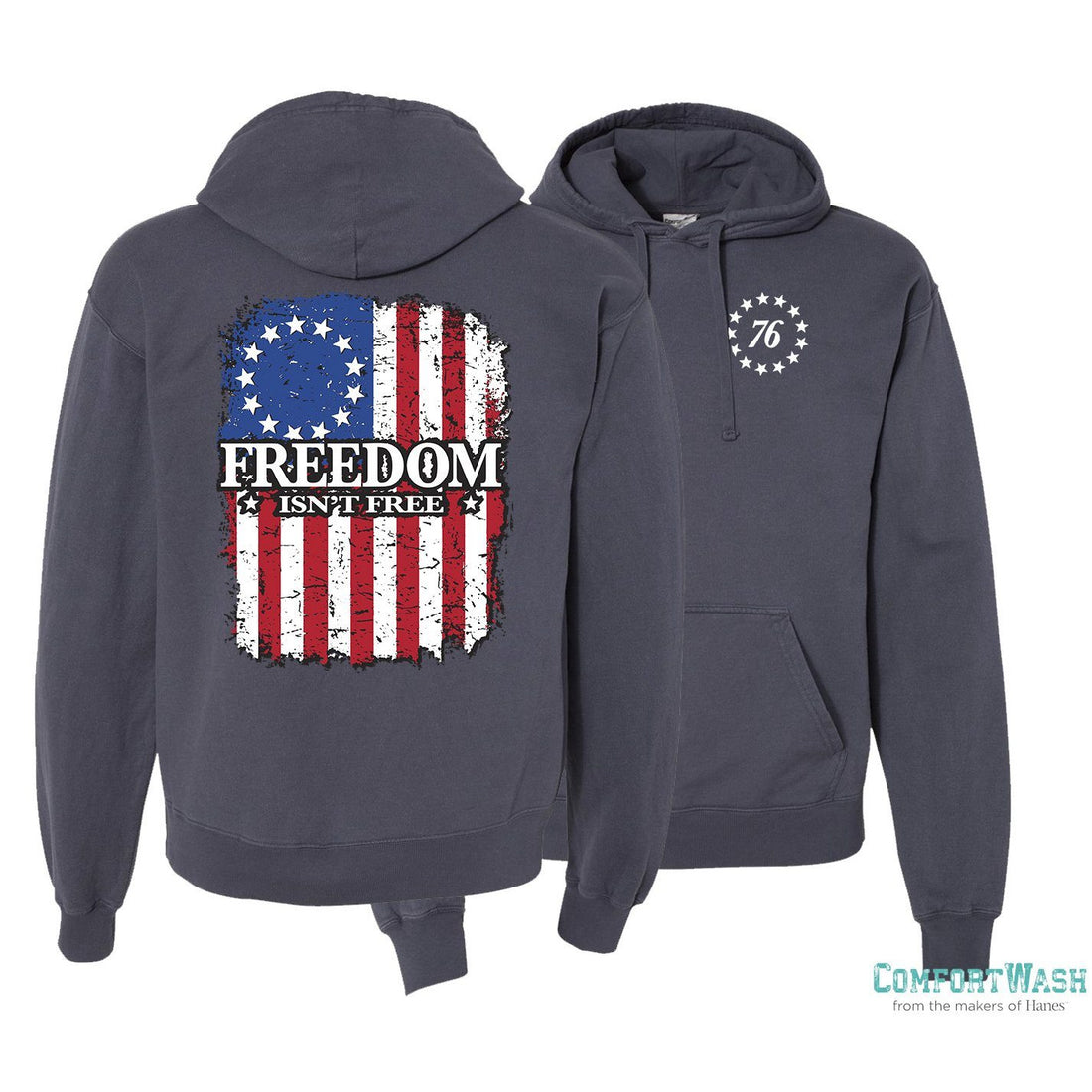 "USMC sweatshirt with the U.S. flag and the phrase ""Freedom Isn't Free"" - Marine Corps Direct"