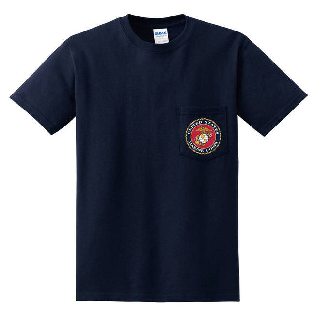 CLOSEOUT Marines Seal Chest Seal NAVY Pocket Tee Shirt (1 SMALL ONLY $5.95 - Marine Corps Direct