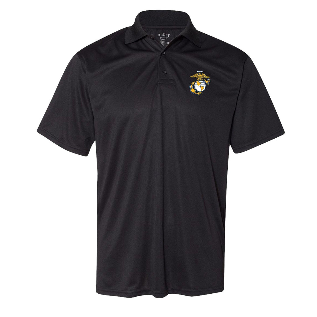 Front view of the charcoal USMC polo with the eagle, globe, and anchor in the corner from Marine Corps Direct.